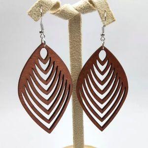 Ciela Wood Drop Laser Cut Earrings